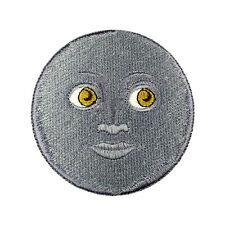 Emoji Black Moon Face Patch Embroidered Face Iron On Sew On Patches