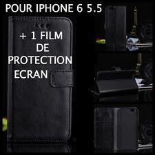 Housse étui pochette coque rabat clapet NOIR simili cuir iphone 6 5.5 + 1 film