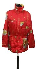 LILY FAROUCHE Ski Jacket Size 12 Red w/ Gold Skiing Snowboarding Winter Active