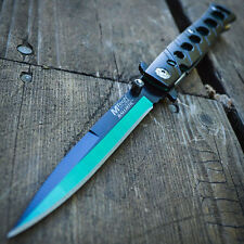 "9"" Italian Milano Stiletto Tactical Spring Assisted Open Folding Pocket Knife"