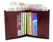 MENS SOFT REAL LEATHER ULTRA SLIM MINI CREDIT CARD NOTE CASE WALLET BROWN 122