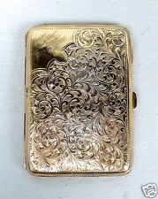 Old Gilt English Sterling Silver Compact Purse Leather Interior Dance Card  SL