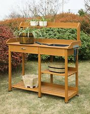 Potting Bench Table Shelf Garden Outdoor Storage Work Station  Planting Patio