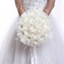 Bridal Silk Rose Bouquet Beaded Flower Kissing Ball Wedding Tulle Floral Holder