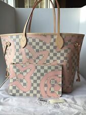 Auth New Louis Vuitton Neverfull MM Damier Azur Tahitienne Bag 2017 Limited!