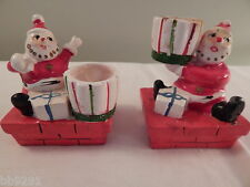 Vintage Napco Japan Santa Candle Holders Striped Presents Christmas