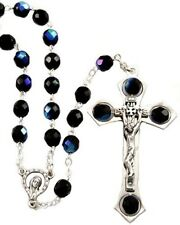 NEW MADE IN ITALY BLACK AURORA BOREALIS CRYSTAL BEAD ROSARY W/ LARGE CRUCIFIX