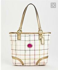 Coach F19174 White Heritage Plaid Stripes Tattersall Shoulder Purse Med Tote