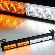 "Amber&White 18"" 16 LED Emergency Warning Light Bar Traffic Advisor Strobe Flash"