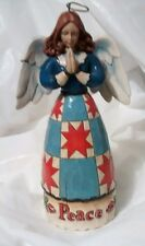 """JIM SHORE HEARTWOOD CREEK - QUIET PEACE 8"""" ANGEL WITH WINGS COUNTRY STAR PATTERN"""