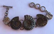 Super! Artisan Sterling Silver Ammonite Fossil Nautilus Conch Shell Bracelet 70g