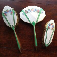 Antique Art Deco Guilloche Enamel  Dressing Table Vanity Set c1930