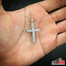 Mens 14k White Gold Finish .925 Silver Simulated Diamond Cross Pendant Charm Icy