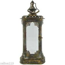 "22"" Antique Vintage Gold Metal & Glass Rectangle Lantern Candle Holder.SALE!"