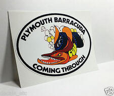 PLYMOUTH BARRACUDA COMING THROUGH Vintage Style DECAL / STICKER, mopar, racing