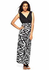 CHERRY STIX Black & White Aztec Print V-Neck Maxi Dress Sz MEDIUM 8-10 NEW! M