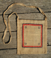 Bohemian Burlap Purse with a Cross-Stich Embroidery - Handmade by Michaela