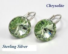 *STERLING SILVER* - RIVOLI - Chrysolite Earrings made with Swarovski Crystals
