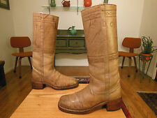 Vtg FRYE Men's Lt. Tan Leather 60s/70s BLACK LABEL Campus Boots 10D  USA!