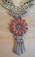 Lucky Brand~Antiqued Gold~Coral Stone Floral Openwork Bib Necklace~$65~JLRU9368