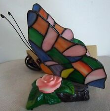 """BUTTERFLY DESIGN ACCENT LAMP STAINED GLASS SHADE 6 1/2"""" TALL"""