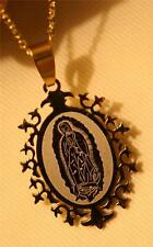 Shiny 2-Toned Starburst Stainless Steel Our Lady of Guadalupe Medal Necklace
