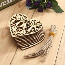 10pcs Craft Love Heart Wooden Embellishment Scrapbooking Hanging Ornament Decor