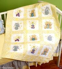"Janlynn Stamped Cross Stitch Pack of 12 ~ ABC 123 Quilt Blocks 9"" #021-1368 Sale"