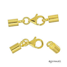 2x 22kt Gold Plated Sterling Silver Lobster Clasp Leather Cord End Cap 3mm 99345