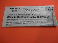 Remington Model 870 Wingmaster Pump Shotgun Manual