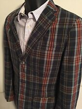 Mens Polo Ralph Lauren Multi Colored Plaid Madras Blazer Jacket Size 40R Prep