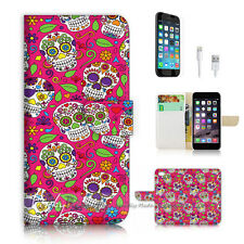iPhone 6 6S Plus (5.5') Flip Wallet Case Cover P2476 Sugar Skull