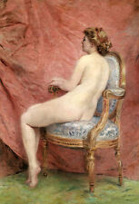 Art Oil painting nude nice model young woman on sofa no framed free shipping
