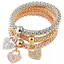 3x Women Fashion Ctue Charm Crystal Rhinestone Heart Elastic Bracelets Bangle EW