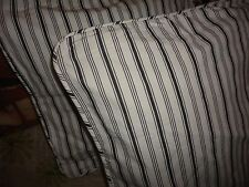 IKEA ALVINE SMAL BLACK TICKING STRIPE (2) ZIPPERED PILLOW COVERS 18""