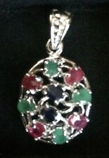 925_Sterling_Silver_Pendant_Natural_Ruby_Sapphire_Emerald