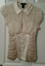 Arden B Cream Off White Stretch Silk Sheer Fitted Keyhole Blouse XS