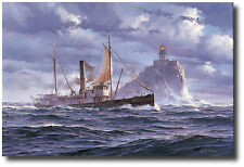 Winter Delivery by William Ryan - Tillamook Lighthouse - Marine Art Print