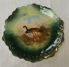Antique Bavaria Z&S Game Bird Cabinet Wall Plate Germany Green Brown Porcelain