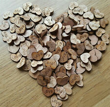 100pcs Rustic Wooden Love Heart Wedding Table Scatter Decoration Crafts UY