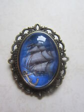 Vintage Bronze Plated Blue Nautical Ship & Anchor Design Brooch New in Gift Bag