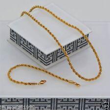 Parure Plaqué Or jaune Chaîne 49 cm + Bracelet 21,5 cm maille Torsadé Unisexe