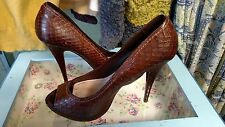 MIU MIU PRADA Snake Print Leather Peep Toe Platform Pumps Shoes 40 1/2 brown