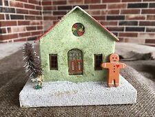 Vintage Mica Glitter Green Cardboard House,Stained Glass Window, Gingerbread Man