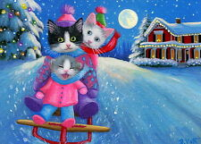 Kittens cats sledding house moon Christmas snow fantasy OE aceo print art