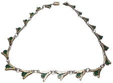 ANTIQUE OLD MEXICO MEXICAN SIGNED STERLING SILVER TURQUOISE CHIP INLAY NECKLACE