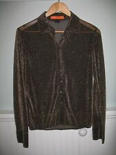 Cynthia Steffe Sheer Gold/Sparkly Button Down Evening Blouse - Size 8