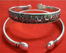 Long Thick Tibetan Copper Delicately Carved 12 Zodiac Animal Cuff Bracelet -7""