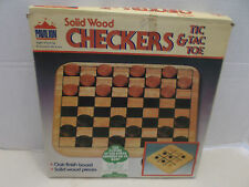 Checkers And Tic Tac Toe Solid Wood Oak Finish Board Only #195 Pavilion 1988!