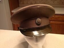 Military Hat USSR Russian Soviet Officer Field Visor Cap EUC Green